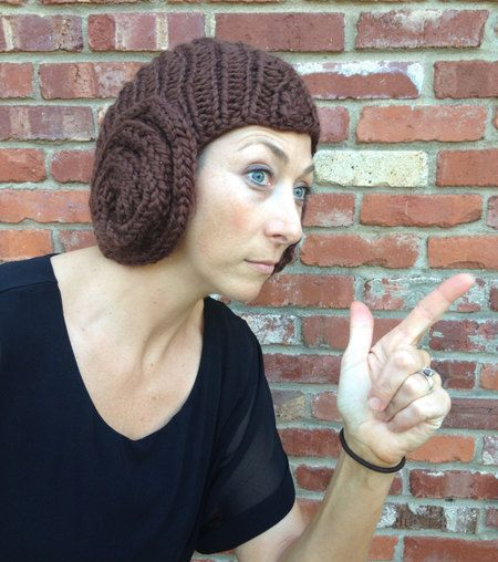 Princess Leia Bun Hat - knitting pattern for hat with earflap buns that looks like a Leia wig!