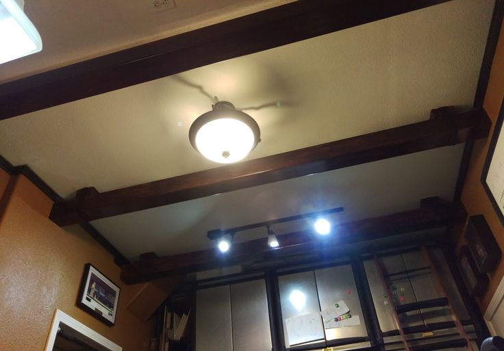 DIY faux ceiling beams from PVC fence posts. | House