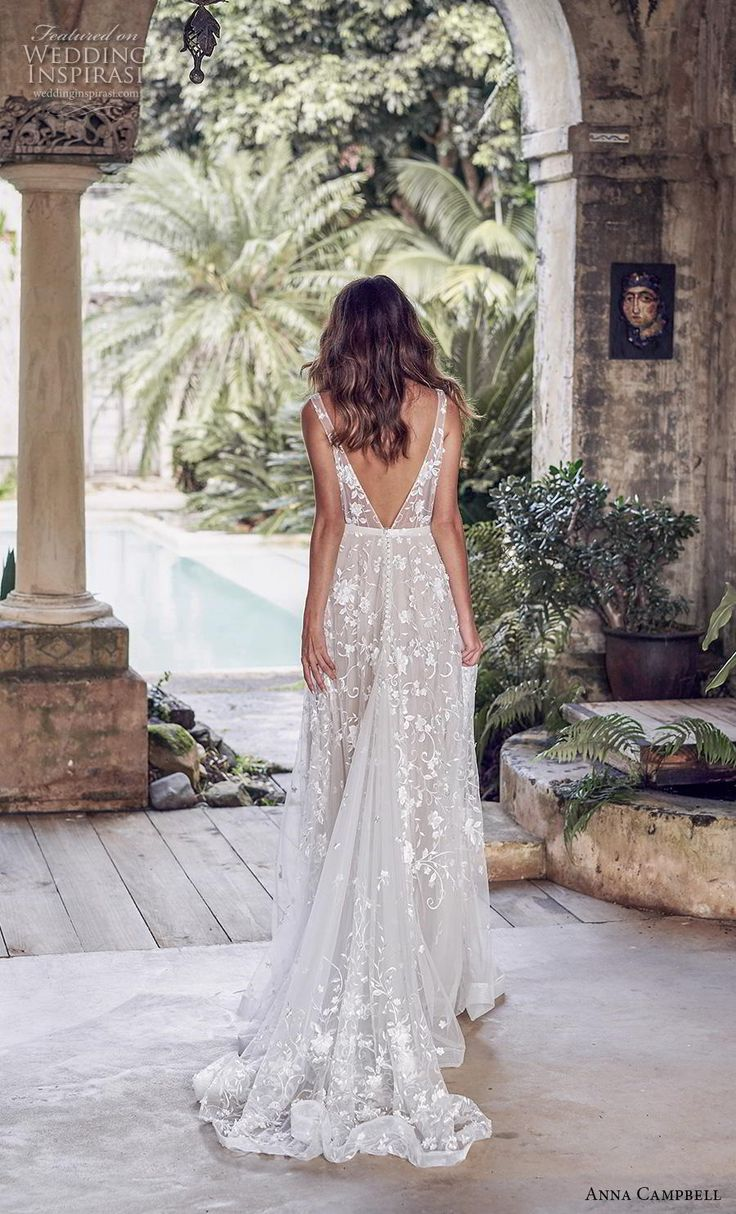 anna campbell 2019 bridal sleeveless v neck full embellishment romantic fairly m…