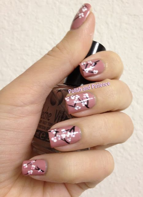 Oh my gosh this is the cutest one yet. Cherry Blossom nail art
