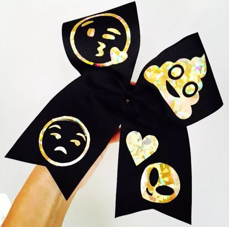 Golden Holographic Emoji emojis Cheer Bow Black and Gold