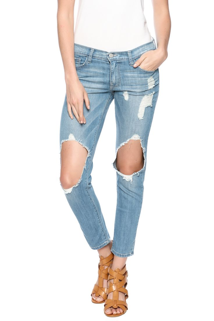 Destroyed boyfriend in a light wash with a mid rise, cropped ankle length, front zip fly closure and belt loops.   Vintage Rip Tear Jeans by Flying Monkey. Clothing - Bottoms - Jeans & Denim - Boyfriend Clothing - Bottoms - Jeans & Denim - Distressed Miami, Florida