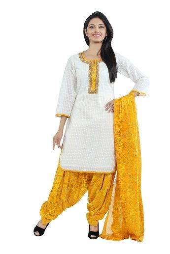 Look your traditional best with this utmost graceful and sophisticated white chikan readymade kameez with cotton lining designed with resham, zari, stone and patch border work by seveneast. Available with printed cambric yellow patiyala and yellow mulmul printed dupatta. 3/4  sleeve........visit: http://www.seveneast.in/index.php?route=product/product&path=81&product_id=150