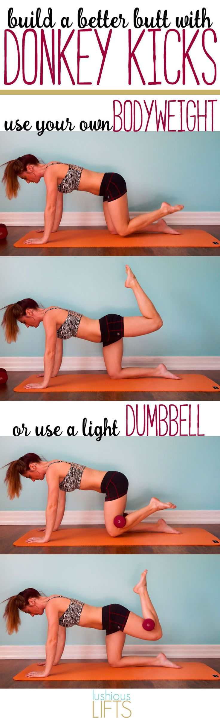 Build a Better Butt with Donkey Kicks || lushiouslifts.com