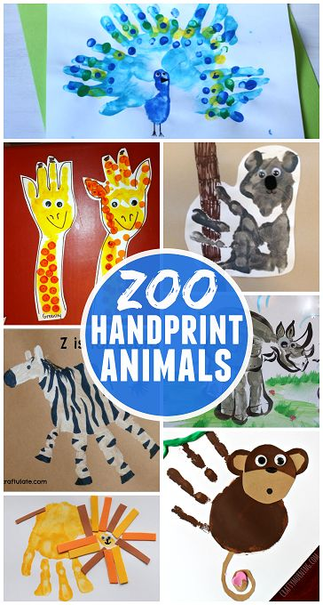 Tons of fun zoo animal handprint crafts