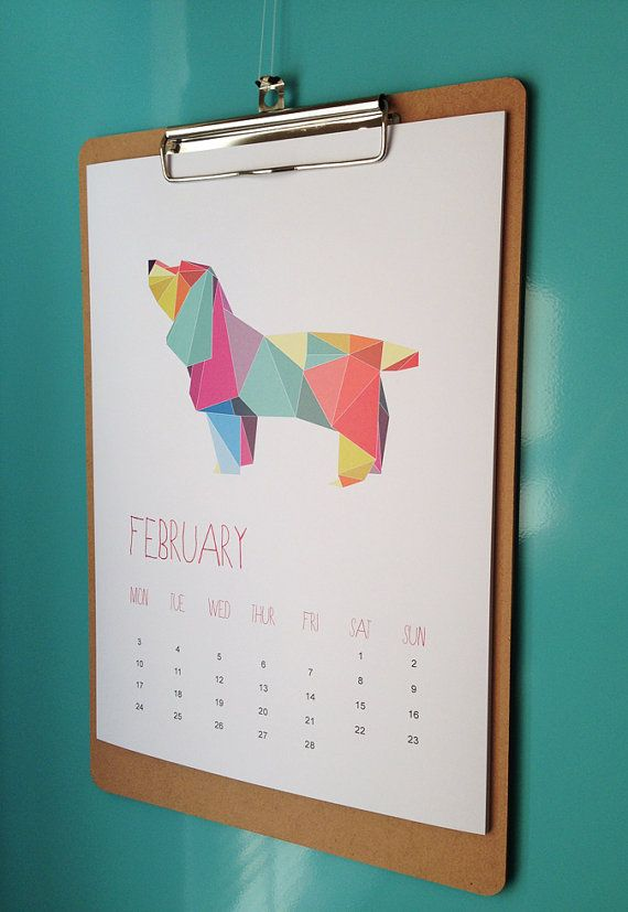 2014 Calendar   Geometric Animals / wall by WhiteWillowPaper, $25.00