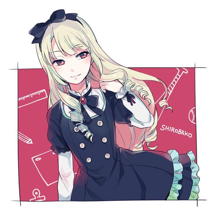 1girl blonde_hair bow dress drill_hair fujino_(unajisaiko) gothic_lolita hair_bow hairband lolita_fashion long_hair ogasawara_rinko red_eyes shirobako smile solo twin_drills