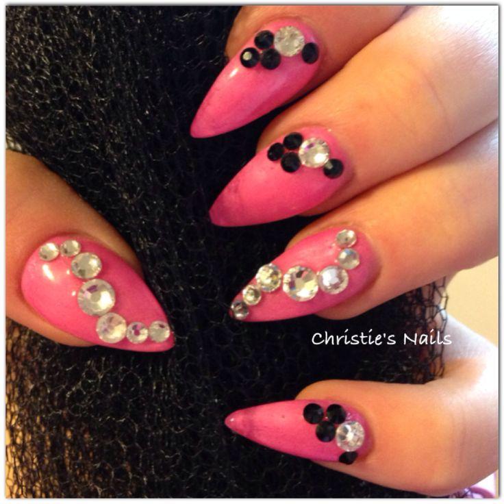 Pink stiletto nails with Swarovski crystal