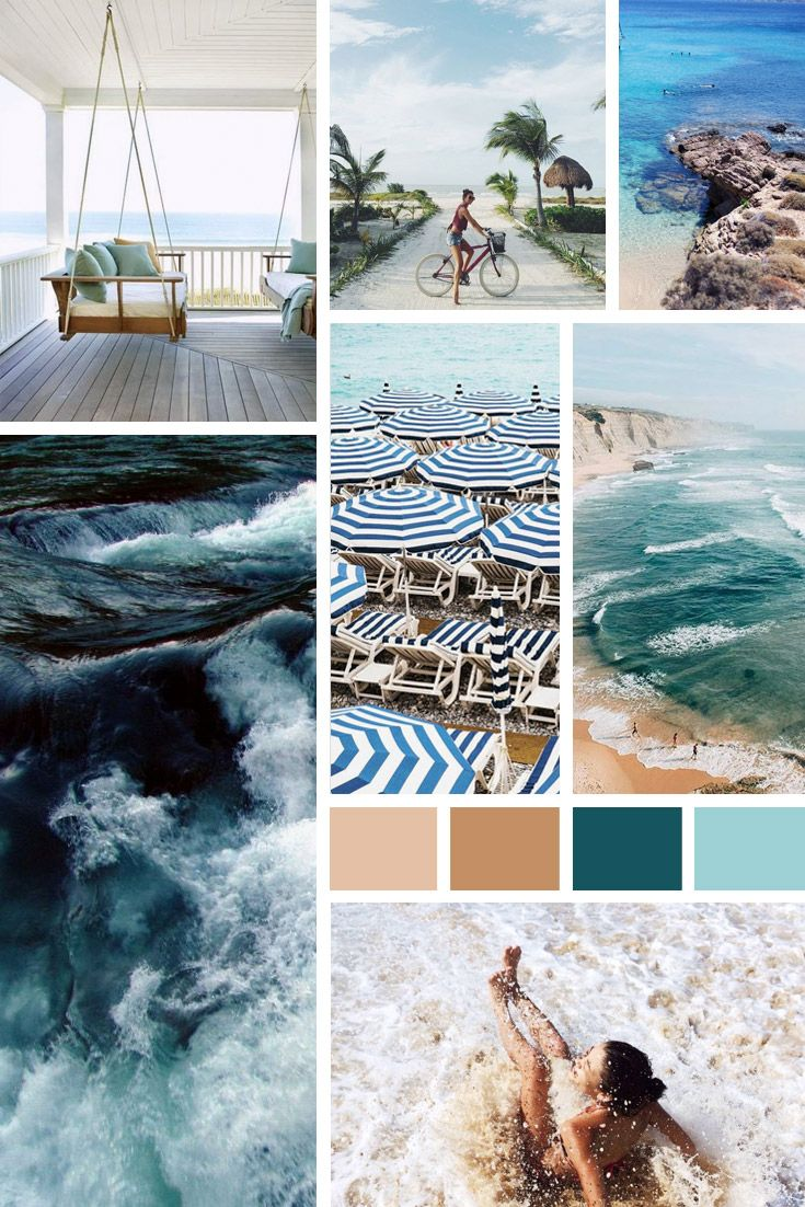 #Beach Vibes – Color Inspiration.  Beautiful collages inspired in everything summer related. Sand, the sea, tropical plants ... <3