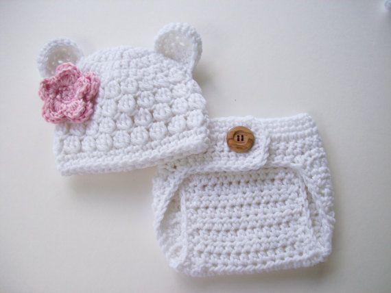 Bear Hat - Diaper Cover - Baby Girl Hat - Baby Girl Beanie - Crochet Baby Hat - Newborn Prop - Ready to Ship - White Pink - Newborn