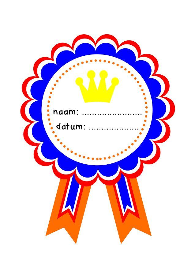 Diploma voor de Koningsspelen. In groep 1 t/m 8 te gebruiken!