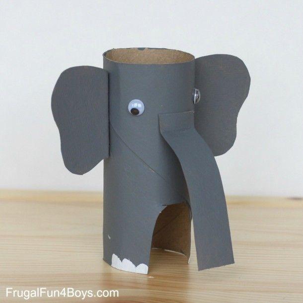 animales con tubos de papel elefante