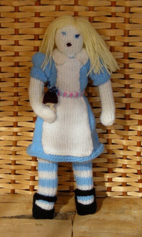 Knitted Alice from Wonderland knitted doll by DucklingInOakum