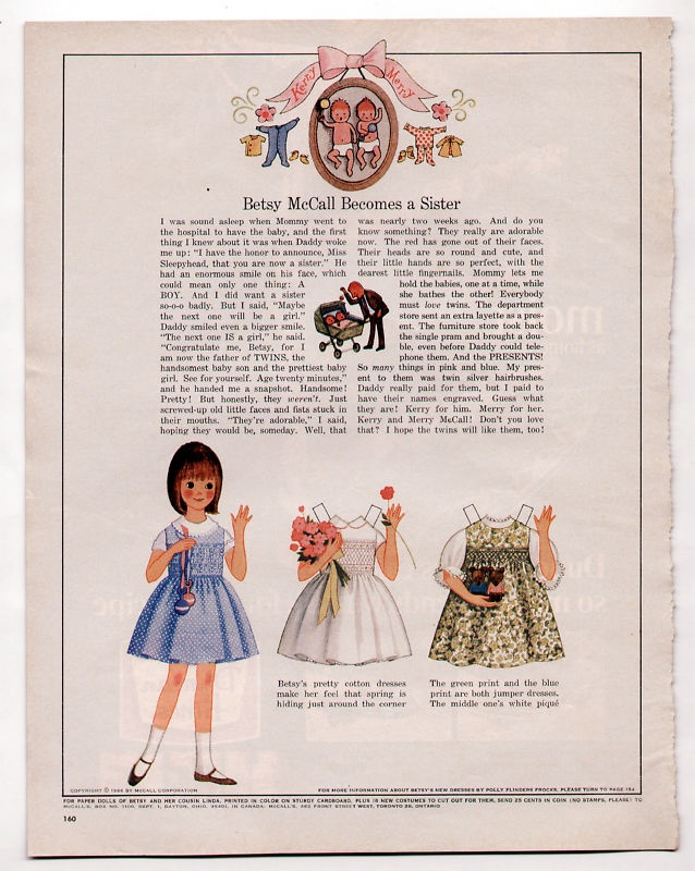 Vintage betsy mccall uncut paper doll