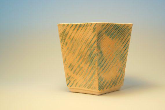 Carved pentagonal vase by ZebraDsgn on Etsy