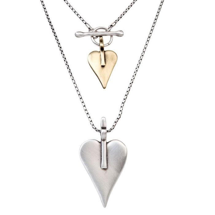 Danon Double Signature Heart Necklace Large Silver Small Bronze. View here http://www.lizzielane.co.uk/shop/danon-double-signature-heart-necklace-large-silver-small-bronze £59.99