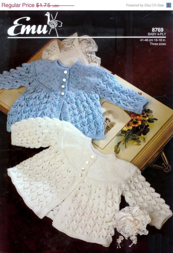 ON Sale Baby  4ply Matinee Jacket /Sweater for by avintagescot, $1.65