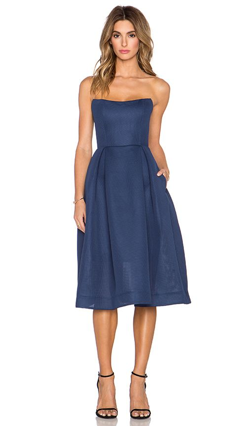 NICHOLAS Mesh Ball Dress in Navy | REVOLVE
