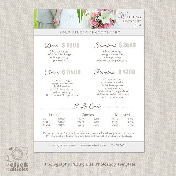 Wedding Photography Package Pricing List By Clicksdesigns