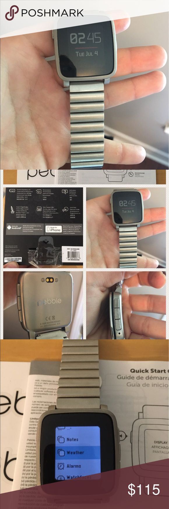 Smart Watch Pebble Time Steel smart watch. Works well for men or women. About 38mm, which is similar in size to the smallest Apple Watch. I bought this a few months back. However, I have about 15 watches in my collection and found that I didn't wear this one much. This works great to read texts, emails, and other notifications.   Has the weather, counts steps, etc. Battery lasts 6 DAYS on a single charge.   Nice silver metal band and a screen protector on it.  Comes with box, charging cable…