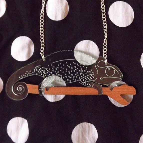 Lasercut chameleon necklace