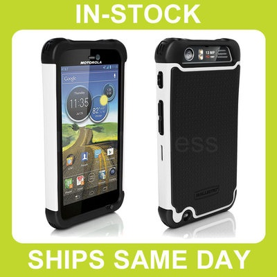 AGF Ballistic Shell Gel (SG) AT Motorola Atrix HD Case Cover - Black / White
