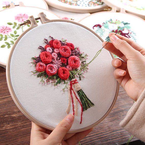 Plants Embroidery Kit For Beginner, Modern Embroidery Kit, Hand Embroidery Kit, …