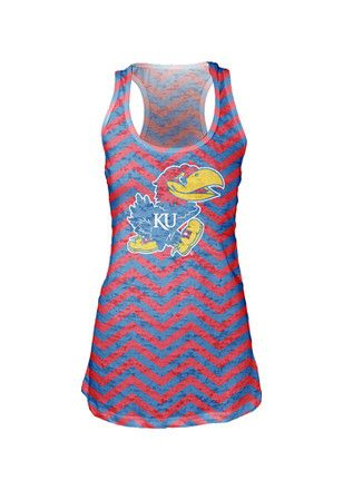 Kansas Jayhawks Womens Red Chevron Burn Tank Top
