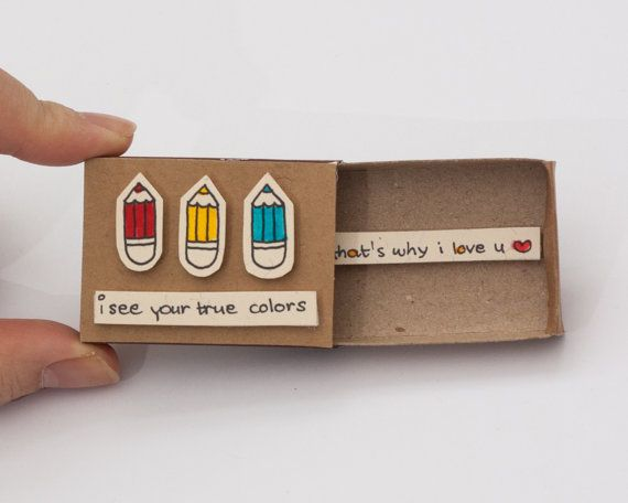 """Cute Anniversary Card/ Romantic Love Card """"That's why I love you"""" Matchbox Gift box / Message box """"I see your true colors"""""""