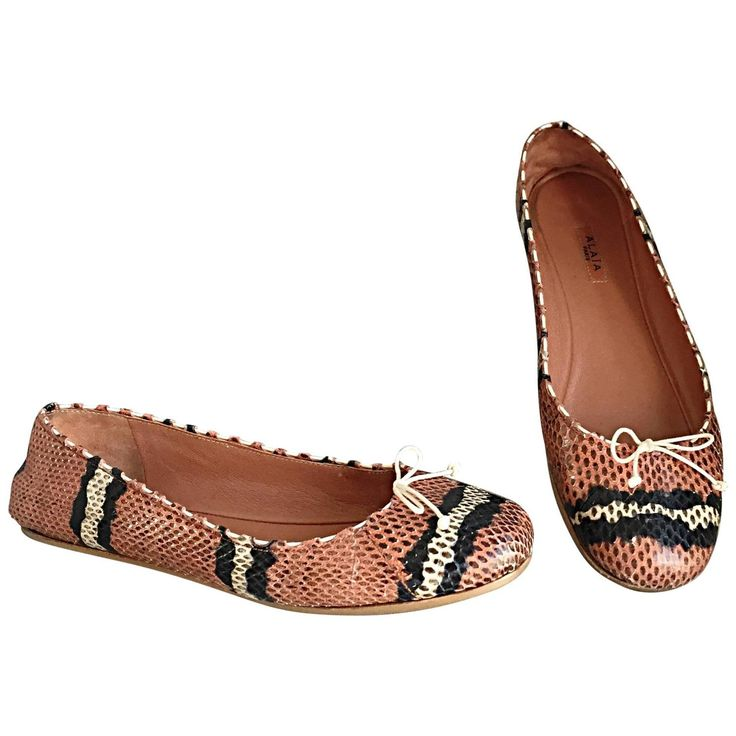 Alaia Python Snakeskin Pink   Black   Cream   Brown Ballet Flats Size 36 6 | From a collection of rare vintage shoes at https://www.1stdibs.com/fashion/clothing/shoes/