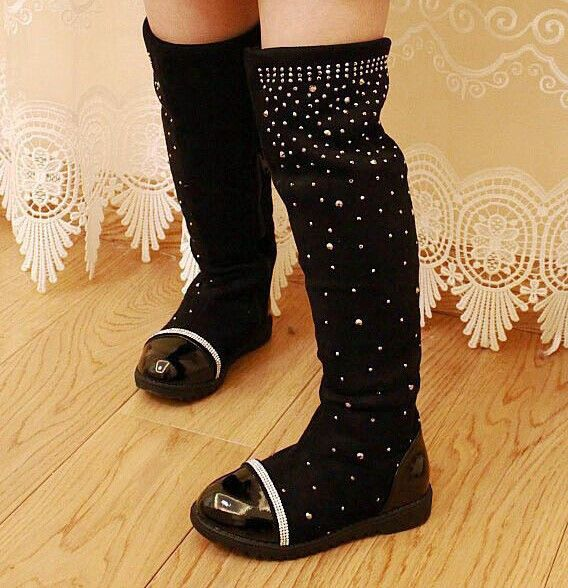 2017 Parent-child shoes princess elegant rhinestone girl high-leg boots children's snow child ever after high boots