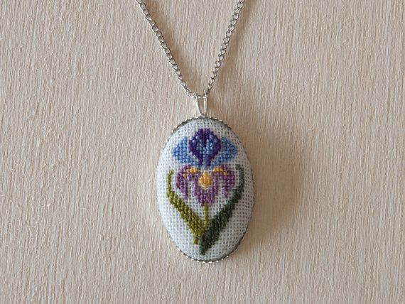 Cross stitch pendant - Iris Flower, Purple with Silver Setting 30x20 mm (1.2x0.8 inch) Oval
