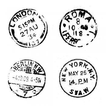 Crafty Individuals CI-124 - 'Four Postmarks' Art Rubber Stamp, 65mm x 65mm