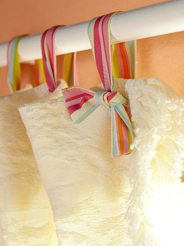 "Ribbon Curtain ""Hooks"". This is a great idea for girls' rooms."