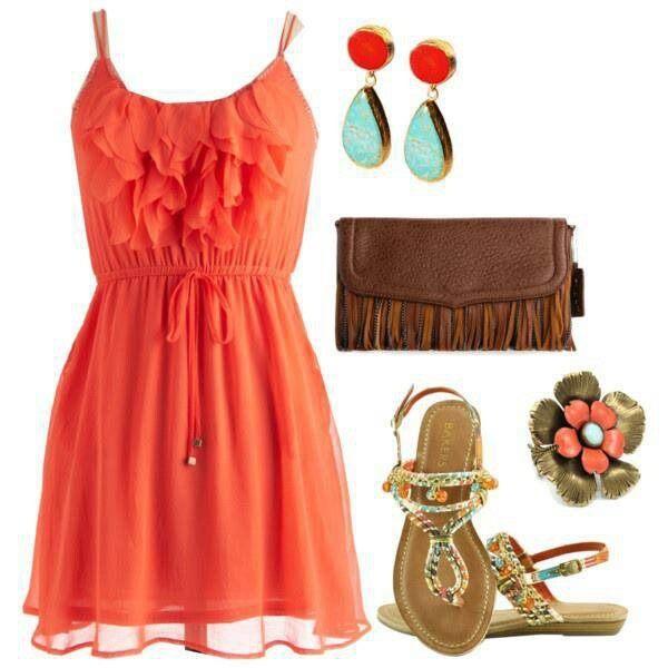 Coral sundress, fabulous with a nice tan!
