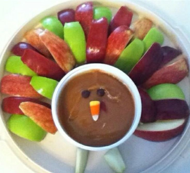 A cute addition to Thanksgiving apple turkey.  HINT - use a tiny bit of lemon juice on the apples to keep them from browning.