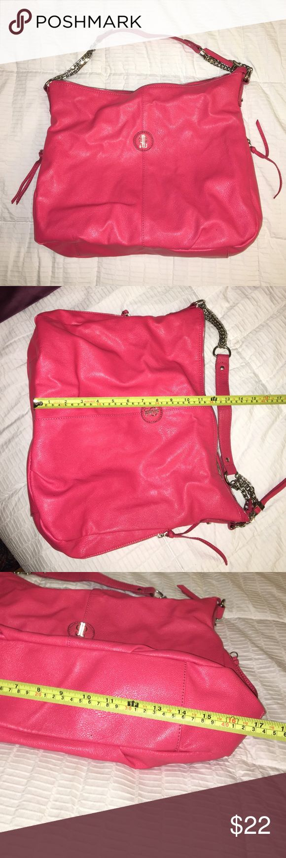 Jennifer Lopez Large Purse 💕 The color! Beautiful bright pink / coral is so easy to love! 💜 Not only is the color amazing but the compartments are awesome 🔥 Zipper pockets on each side. Divider pocket space in the middle of the bag as shown in pictures. Please see above pictures for wear and tear as well as the dimensions 😊 Jennifer Lopez Bags Shoulder Bags