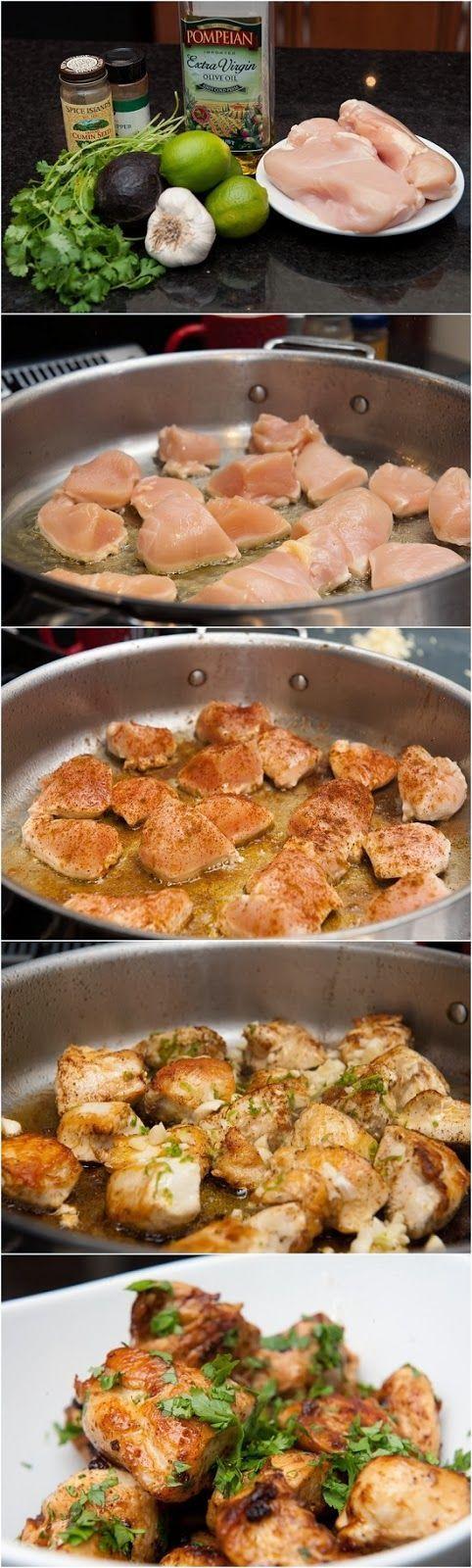 POLLO AL LIMON Y CILANTRO Otra manera de comer las pechugas de pollo. (De esta receta solo habria que tener cuidado de la cantidad de aceite que usemo)