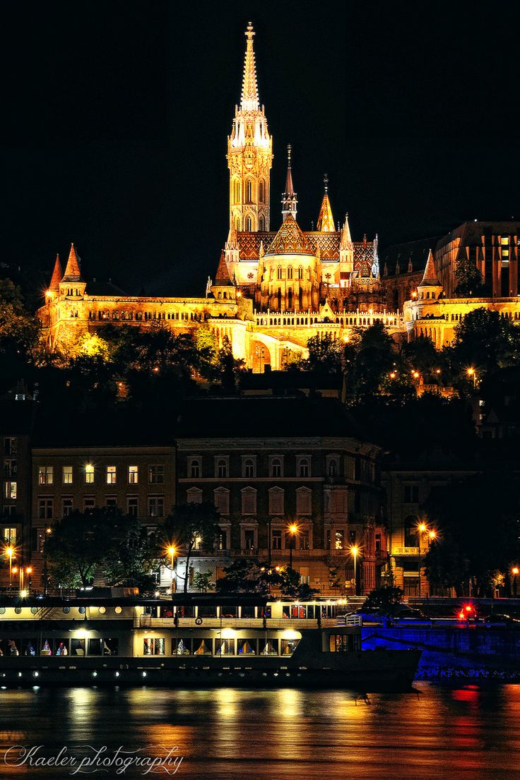 Budapest Matthias Church at night. Hungary