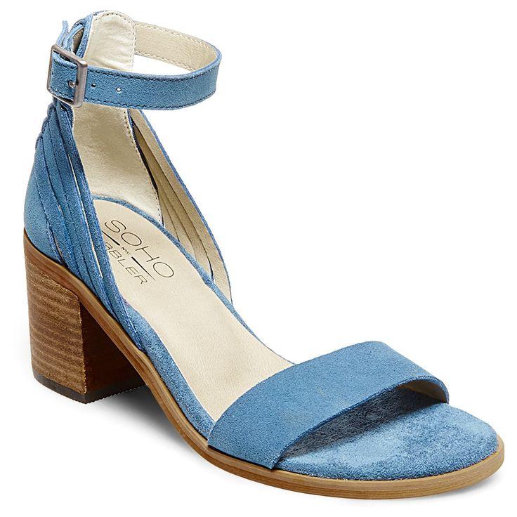 Women's Soho Cobbler Serene Wide Width Suede Quarter Strap Sandals - Blue 6W, Size: 6 Wide