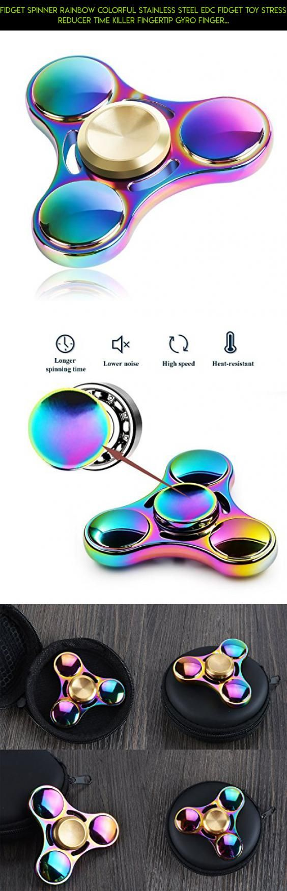 Fidget Spinner Rainbow Colorful Stainless Steel EDC Fidget Toy Stress Reducer Time Killer Fingertip Gyro Finger Toy for Anxiety, Boredom, Autism Adult Kids #kit #steel #gadgets #tech #shopping #fpv #racing #spinner #parts #camera #drone #technology #products #stainless #rainbow #plans