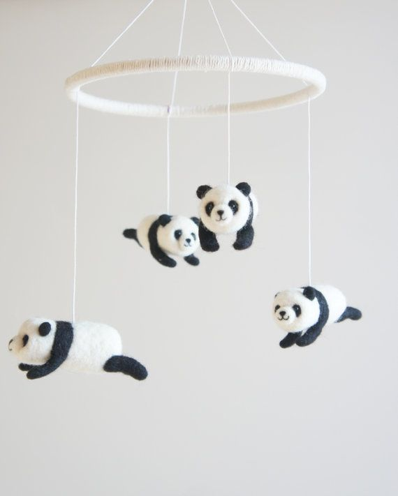 Handmade Needle Felted Panda Mobile, Lullaby mobile The mobile is fixed on a 8 inches (20 cm) wide ring, included 4 needle felted pandas (3,5 (9 cm) on
