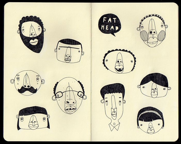 Moleskine Sketchbook Character Illustrations by Paul Clay for alphawham