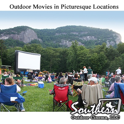 Outdoor movies in picturesque locations: A North Carolina State Park provide a beautiful backdrop for an open air cinema experience.