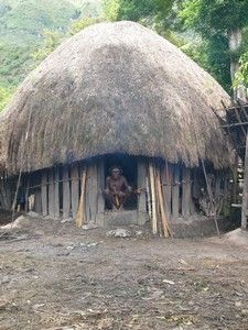 .Traditional peoples of the Dani tribe from Lembah Baliem are sitting in front of their house (traditionally called a honai)