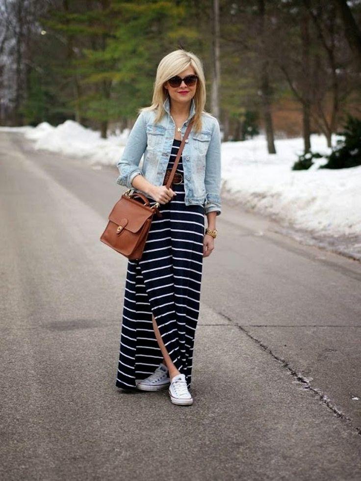 O vestido listrado com tênis está super na moda! Veja como criar looks maravilhosos com vestidos listrados e estilosos, com tênis branco e tênis coloridos!