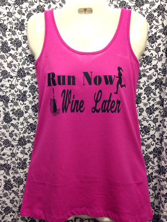Run Now Wine Later Razorback Tank by ThreadsToo on Etsy