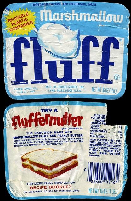 Durkee - Marshmallow Fluff - Fluffernutter - jar label - 1970's or 1980's: 1980 S, Photo, 1980S Candy