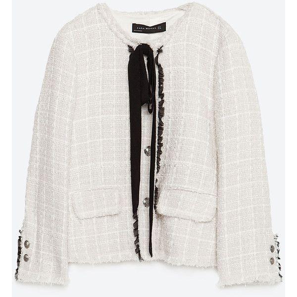 Zara Jacket With Bow ($149) ❤ liked on Polyvore featuring outerwear, jackets, zara, ecru, lined jacket, bow jacket and zara jacket