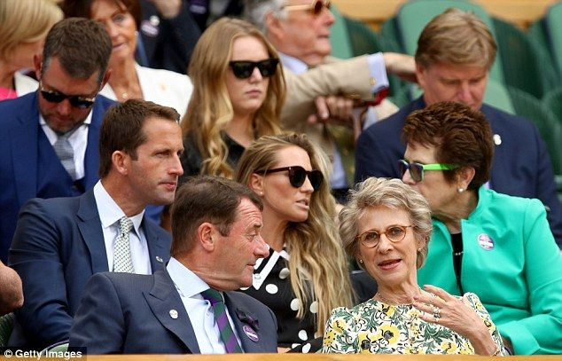 Duchess of Gloucester in the front row : Sir Ben Ainslie and Lady Georgie Ainslie in discussion with Billie Jean King (second row)